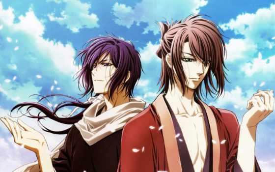 okita, hajime, сакуры, saitou, сайто, anime, бледной, демоны, hakuouki, souji, парни,