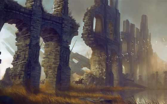 руины, стена, птицы