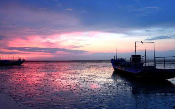 море, ночь, прилив, ships, landscape, free, desktop,