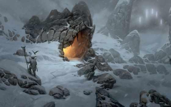 viking, art, огонь, пещера, горы, снег,