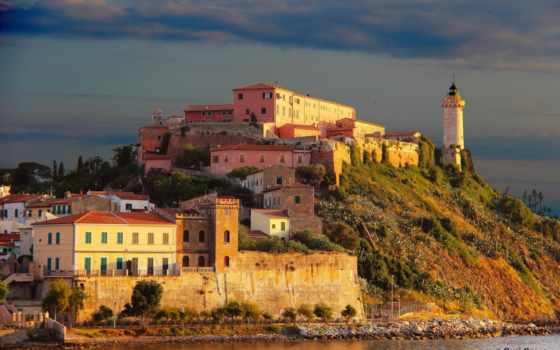 portoferraio, toscana, italian, остров, дома, маяки, stella, forte,