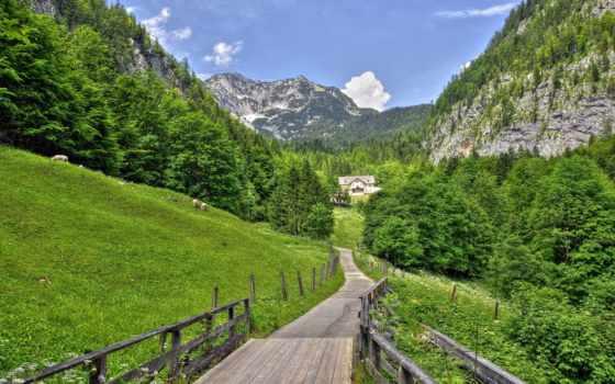 альпы, горы, пейзажи -, house, луг, небо, landscape, трава, природа,