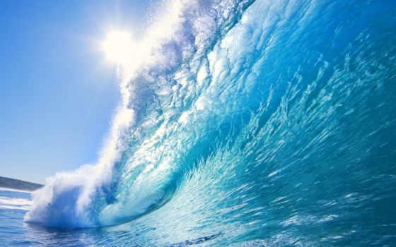 , blue,  волна, fonds, ecran, брызги,волны,