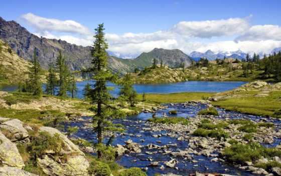 природа, озеро, горы, landscape, река, картинку,