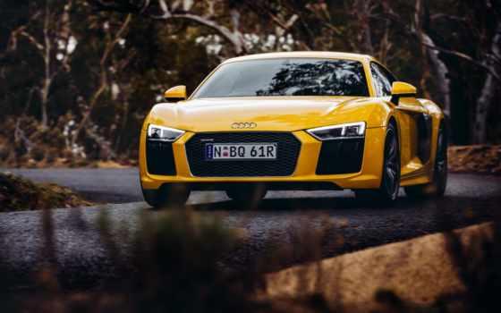 ауди, spyder, audi r8, автомобили, yellow, car,