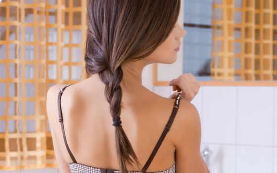 шея, спина, красивая, коса