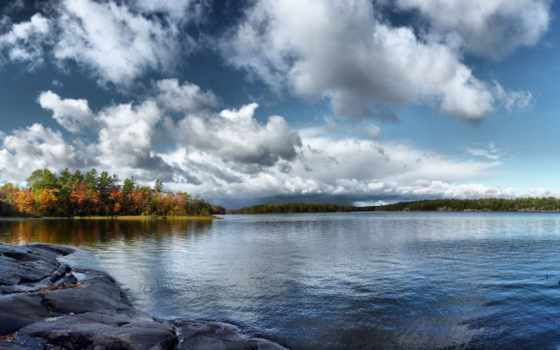 осень, water, небо, trees, озеро, гладь, природа, oblaka,