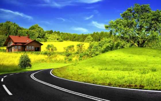 асфальт, дорога, разметка, поворот, house, яркий, зелёный, контрастность, trees,