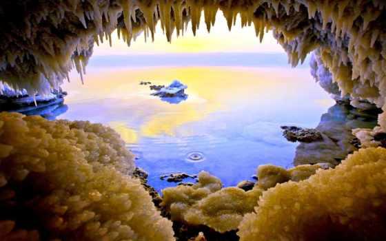 море, jordan, dead, country, пещера, природа,
