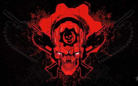 war, gear, game, череп, black, logo