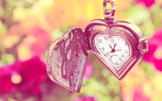 часы, сердечки, love