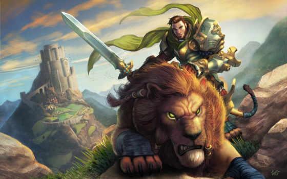 воин, art, lion