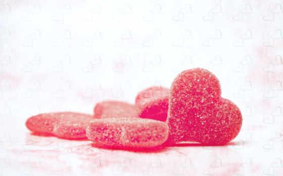 сердечки, сахар, конфеты,