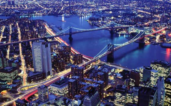 нью, york, йорка, мосты, ночь,