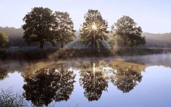 над, park, jeziorem, wschód, słońca, chojnowski, krajobrazowy, mazowsze, narodowy, czarnym, turystyczny,