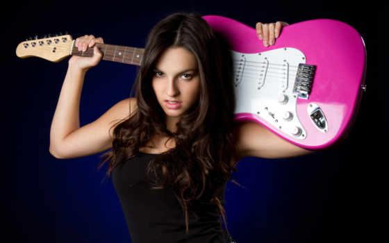 девушка, шаблон, фотошопа, гитарой, красной, psd, rock, гитара, dpi, автор,