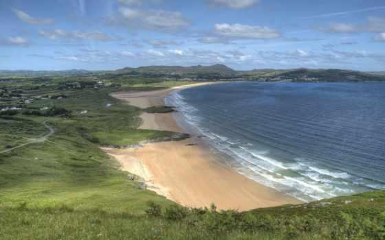 ireland, preview, пляж, флаг, тона, вечер, фон, blue,