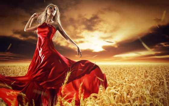 платье, красном, color
