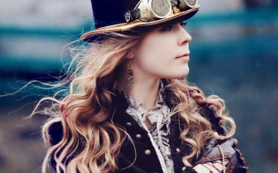 девушка, стимпанк, цилиндр, гогглы, картинка, картинку, steampunk,