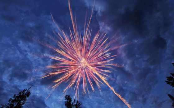 fireworks, clouds, фейерверки, небо, салют,