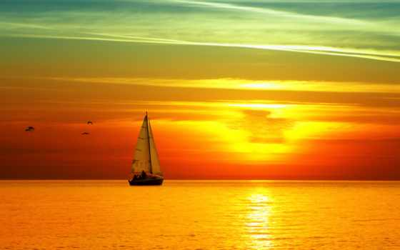 море, яхта, закат, sail, небо, высоком, яркий,