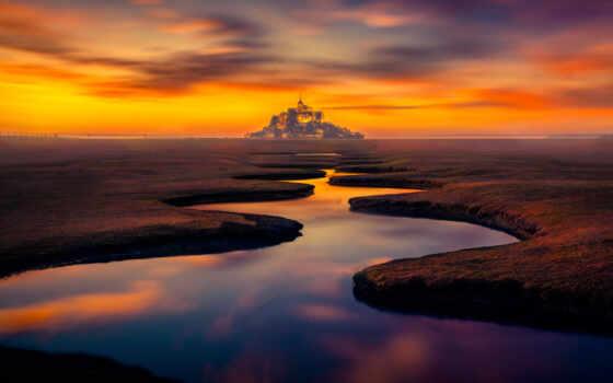 природа, фото, michel, mont, санкт, закат, mobile, resolution, качество, франция, категория