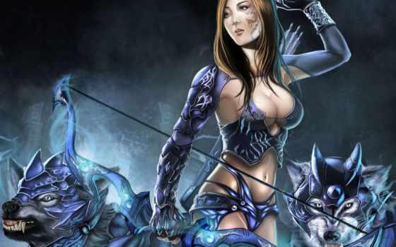 доспехи, воительница, волки, девушка, лук, стрелы, кровь, порез, гетерохромия,