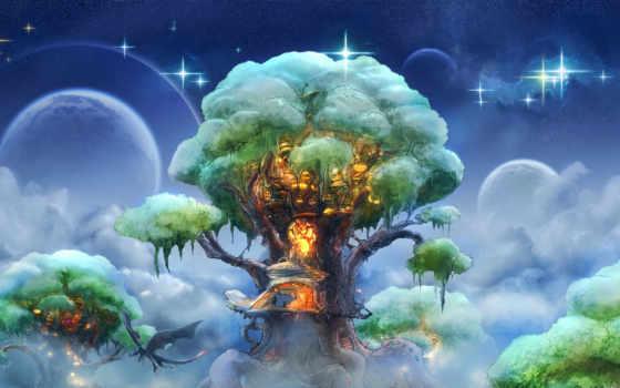 фэнтези, дерево, арт