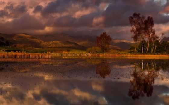 осень, облака, water