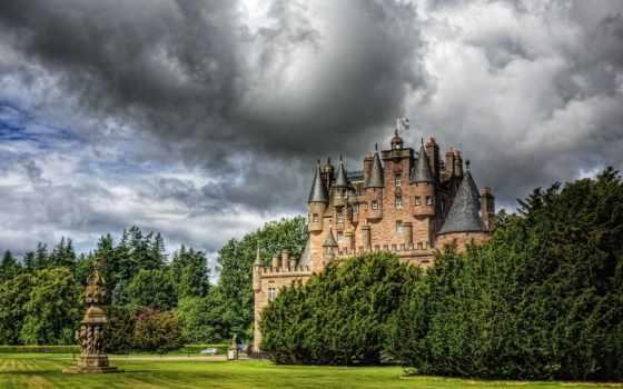 ecosse, glamis, ecran, sur, fonds, château, nuage, шотландия, фото, votre,