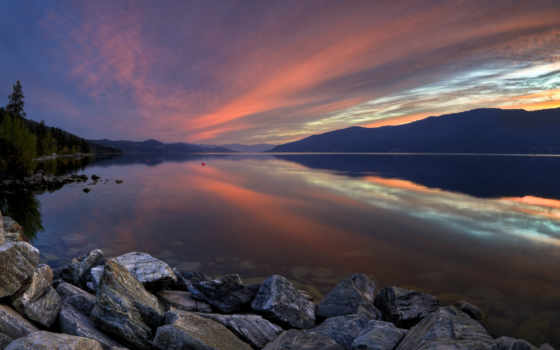 закат, горы, озеро, гладь, водная, море, природа,