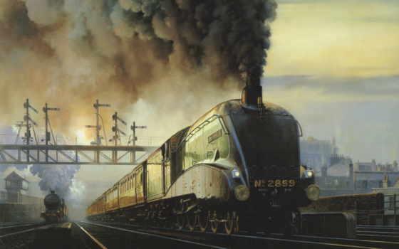 фотографий, windows, сайте, нашем, живопись, красивые, широкоформатные, поезд, заставки,