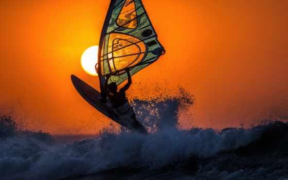 спорт, море, сёрфинг, waves, виндсерфингом, закат, девушка, sun, виндсёрфинг, рассветы, картинку,
