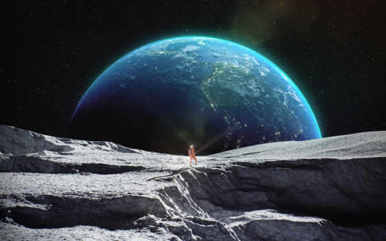 луна, гладь, earth, астронавт, galaxy