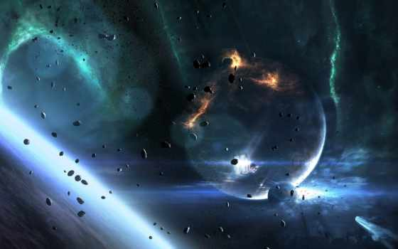 planet, космос, earth, планеты, корабль, астероиды, art, star,