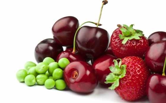ягоды, клубника, горох, черешня, eда,