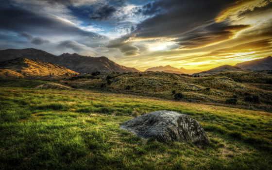 plain, красивая, природа, colibri, oboi, страница, поле, гора, метки, тучи, горы,
