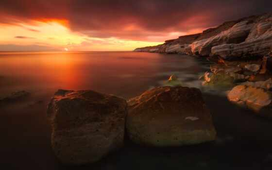 закат, red, rocks, beaches, coastline, renaldas, небо, sunsets,