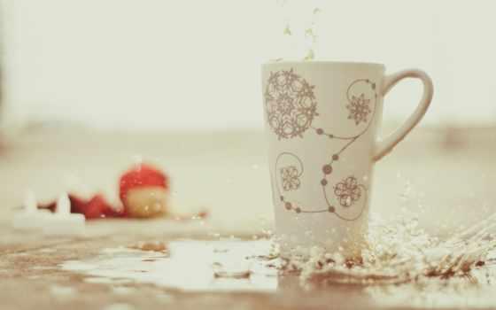 снежинки, брызги, cup, капли, размытость, water,