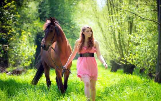 лошадь, девушка, трава, white, настроение, платье, wildflower, summer, креатив