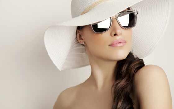 девушка, point, шляпа, глаза, glass, brunette