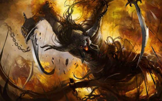демон, рога, арт