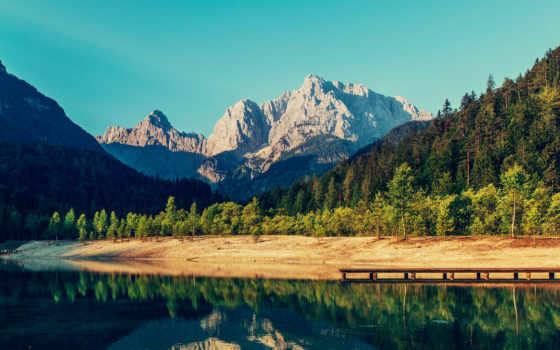 озеро, река, mountains