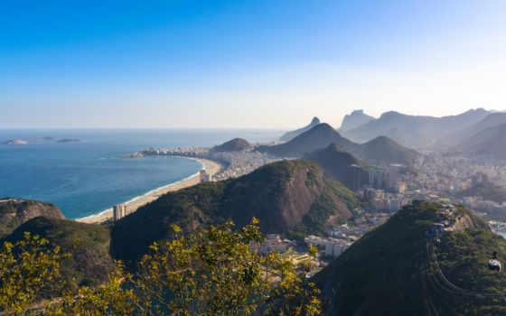 rio, copacabana, janeiro, brazil, пляж, гора, cities,