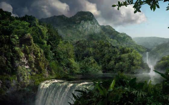 лес, горы, водопад, река, jungle, всех, которых, тег, есть,