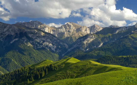 горы, картинка, гора, природа, китаянка, китая, долина, непале, облаках, горная,