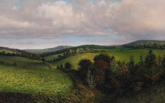 landscape, живопись, природа, paintings, поля, поле, trees, art, landscapes,