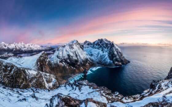 норвегия, день, красивый, гора, река, природа, norwegian, unity, winter, hour