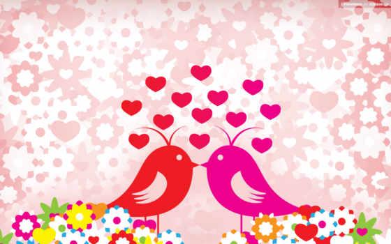 love, фоны, птички