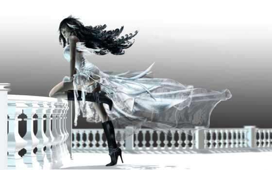 платье, девушка, белом, длинном, сапогах, черных, балкон, каблуке,